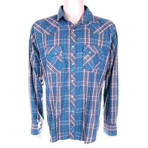 Wrangler Button Front Shirt Western Check Size L
